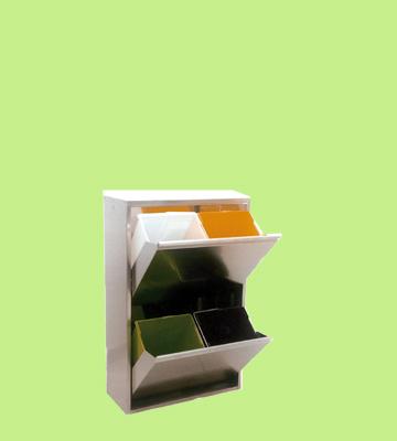 Mobiletto per la raccolta differenziata con 2 cassetti in Inox
